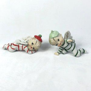 Vintage Accents - Vintage Christmas Striped Fairy Porcelain Figures